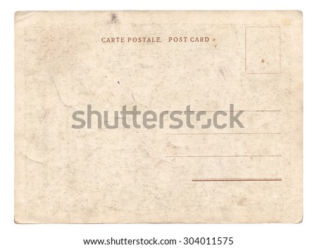 Blank old vintage postcard isolated on white background - stock photo