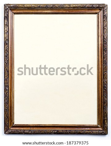 Blank old wooden picture frame - stock photo