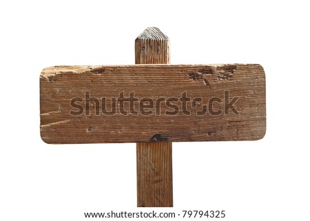 Blank old wooden trail sign isolated. - stock photo