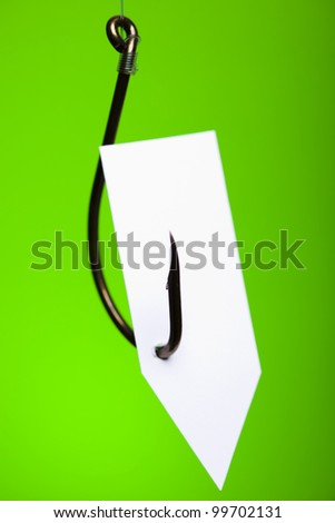 Blank on piece of paper on hook - stock photo