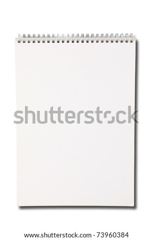 Blank one face white paper notebook vertical - stock photo