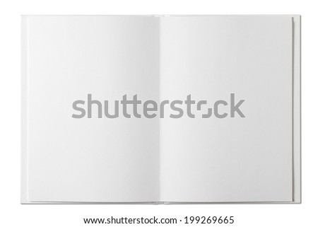 Blank open Book isolated on white/with clipping path - stock photo
