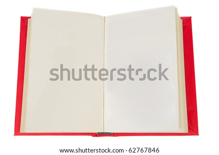 Blank open book isolated on white with clipping path. - stock photo
