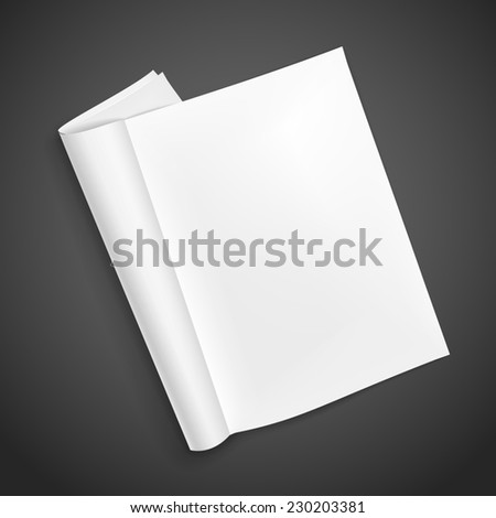 blank open book isolated over black background - stock photo