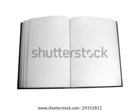 Blank open book isolated over white background - stock photo