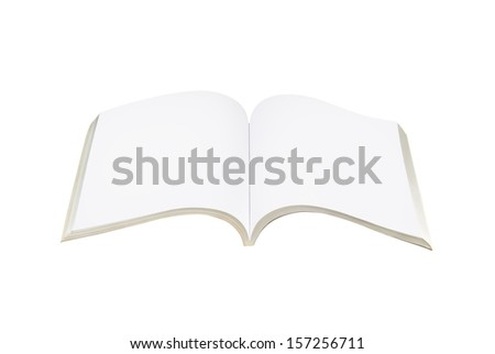 Blank open book on white background with clipping path
