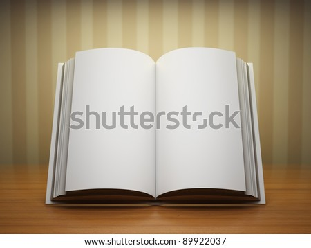 Blank open book on wooden table - stock photo