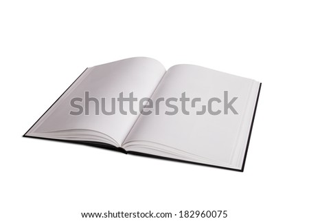 Blank open book or magazine template for your design, isolated on white background. - stock photo