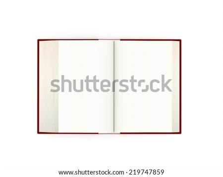 Blank open book rendered on white