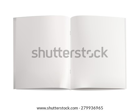 blank open book template isolated on white background