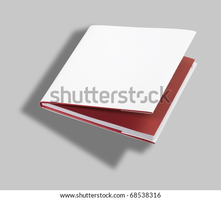 Blank open book white cover w clipping path - stock photo