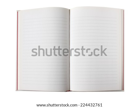 Blank open book with lined pages - isolated on white background - stock photo