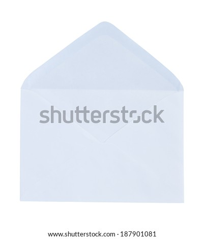 Blank open envelope isolated on white background
