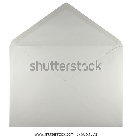Blank open envelope isolated on white background with clipping path - stock photo