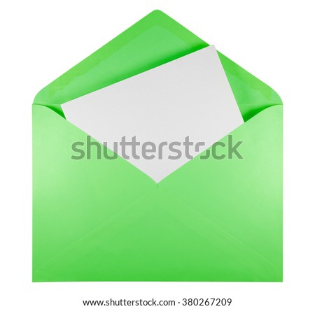 Blank open green envelope isolated on white background with clipping path