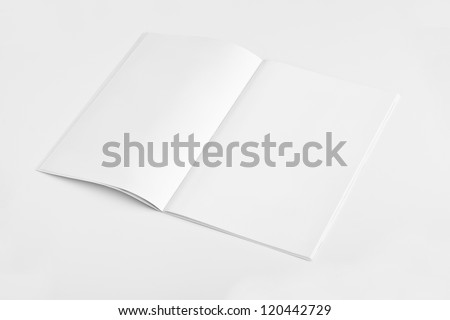Blank open Magazine isolated on White Background - stock photo