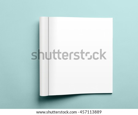 Blank open magazine template isolated on pink background with clipping path ready for your artwork - stock photo