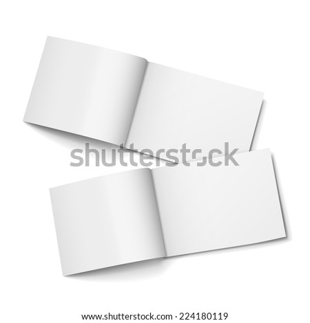 blank open magazines set isolated on white background - stock photo