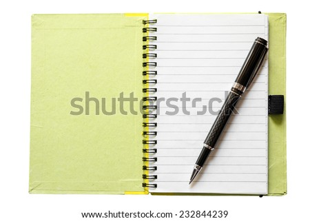 Blank open notebook isolated on white  - stock photo