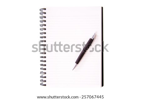 Blank open notebook lined papers with pen - stock photo