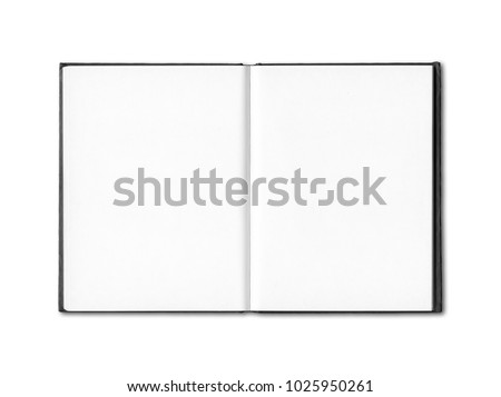 Blank open notebook mockup isolated on white