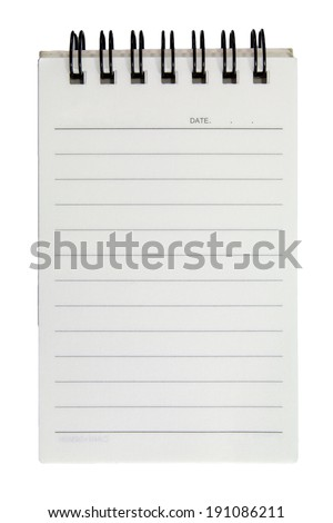 Blank open notebook with lined papers on white background