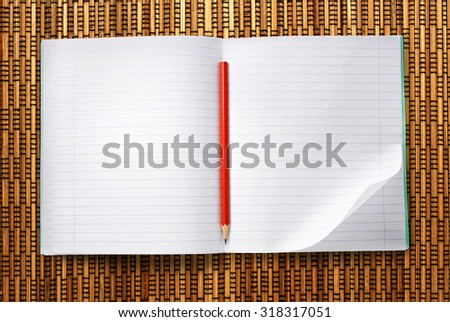 Blank open notebook with red pencil closeup - stock photo