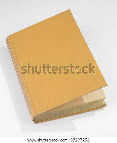 Blank open old book cover yellow - stock photo
