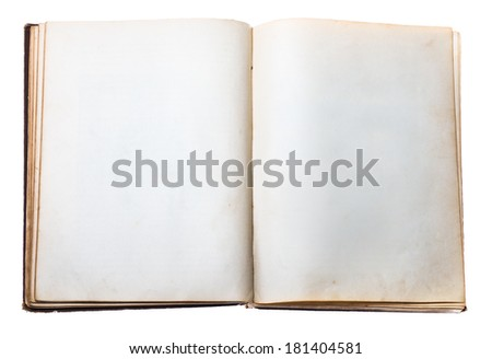 blank open old book isolated on white background with clipping path