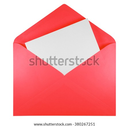 Blank open red envelope isolated on white background with clipping path