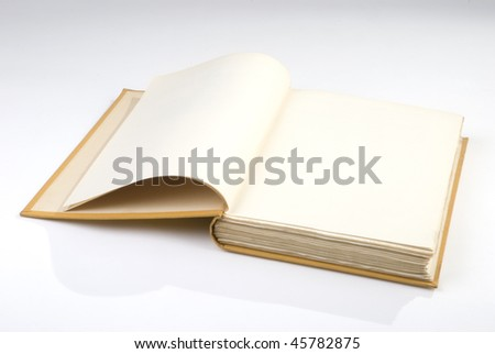 Blank opened book cover yellow - stock photo