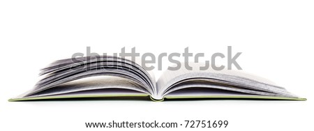 blank opened book isolated on white background
