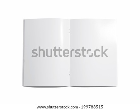 Blank opened Brochure isolated on white - stock photo