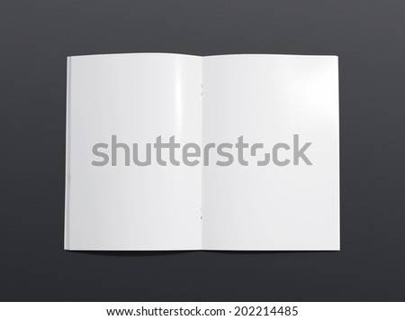 Blank opened brochure photo on dark background to replace your design - stock photo