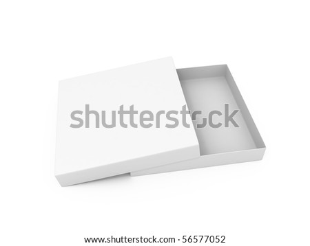 Blank opened cardboard pizza box isolated on white background - stock photo