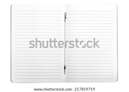 Blank opened copybook template isolated on white background with clipping path - stock photo