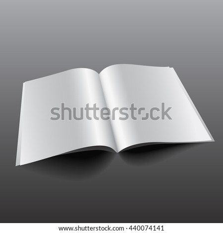 Blank Opened Magazine, Book, Booklet, Brochure. Illustration Isolated On White Background. Mock Up Template Ready For Your Design. Raster copy of vector file.