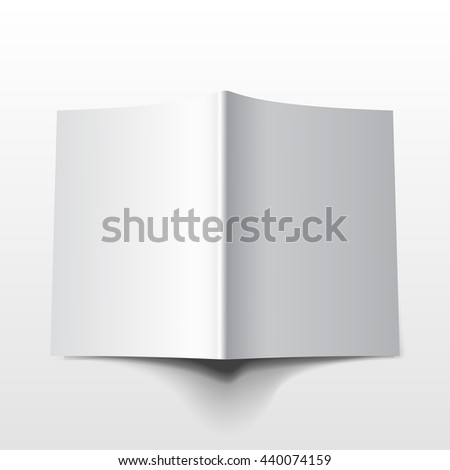 Blank Opened Magazine, Book, Booklet, Brochure. Illustration Isolated On White Background. Mock Up Template Ready For Your Design. Raster copy of vector file. - stock photo