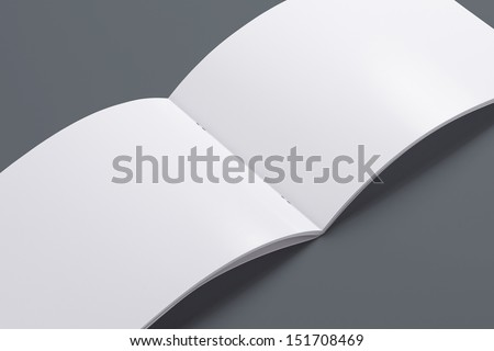 Blank opened magazine isolated on grey background with soft shadows - stock photo