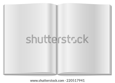Blank opened magazine isolated on white background. - stock photo