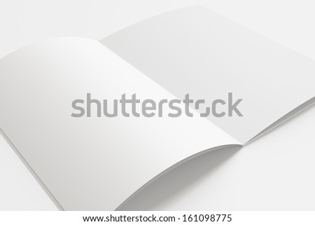 Blank opened Magazine with soft shadows isolated on white - stock photo