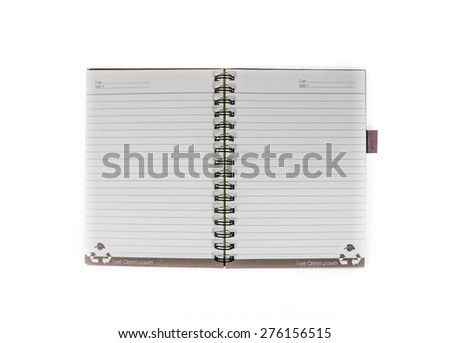 Blank opened recycled paper notebook isolated on white background with clipping path - stock photo