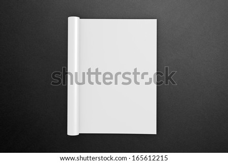 Blank opened square Magazine on the dark Background to replace your design - stock photo