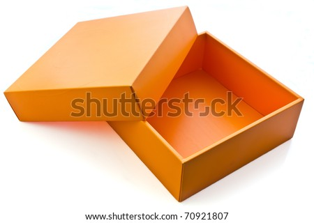 Blank orange card box - stock photo
