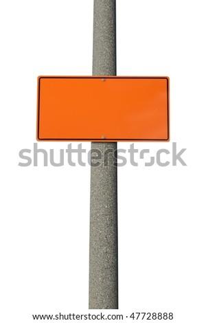 Blank orange construction sign on concrete electric pole - stock photo