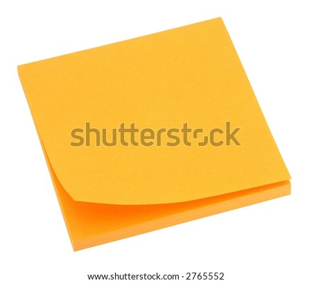 Blank orange memo pad isolated on white. - stock photo
