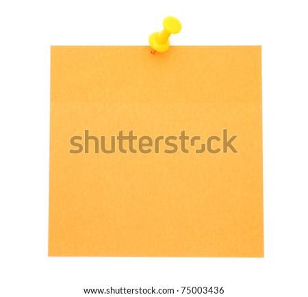Blank orange post-it note isolated on white background - stock photo