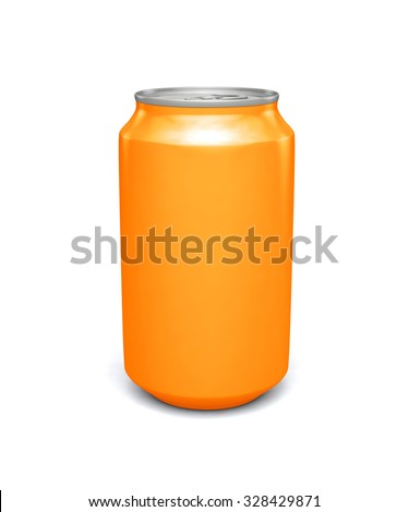 Blank orange soda can mock-up isolated on clean white background