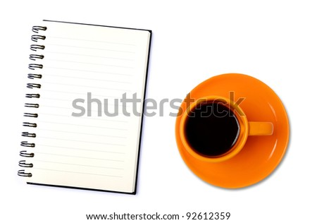 Blank organizer with coffee cup. Isolated on white background - stock photo