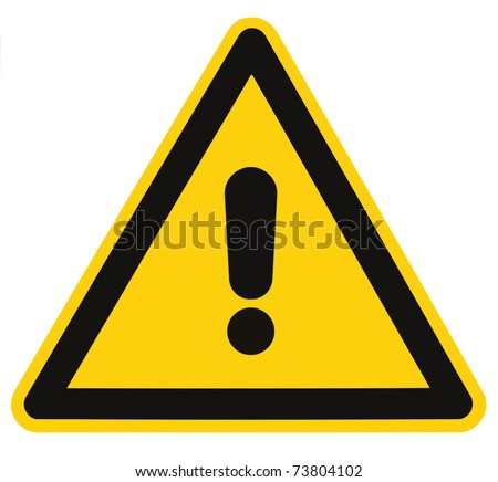 Blank Other Danger And Hazard Sign, isolated, black general warning triangle over yellow, large macro - stock photo